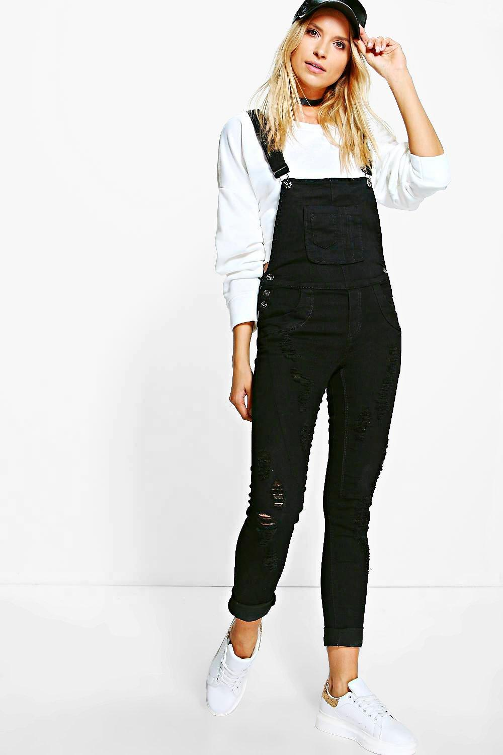 Eva Distressed Denim Dungarees