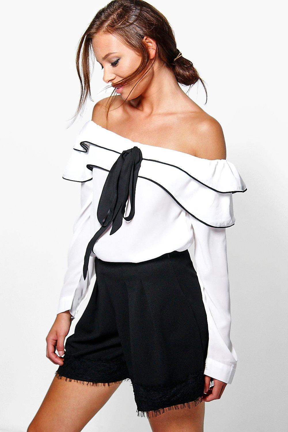 Annie Tie Front Ruffle Bardot Top