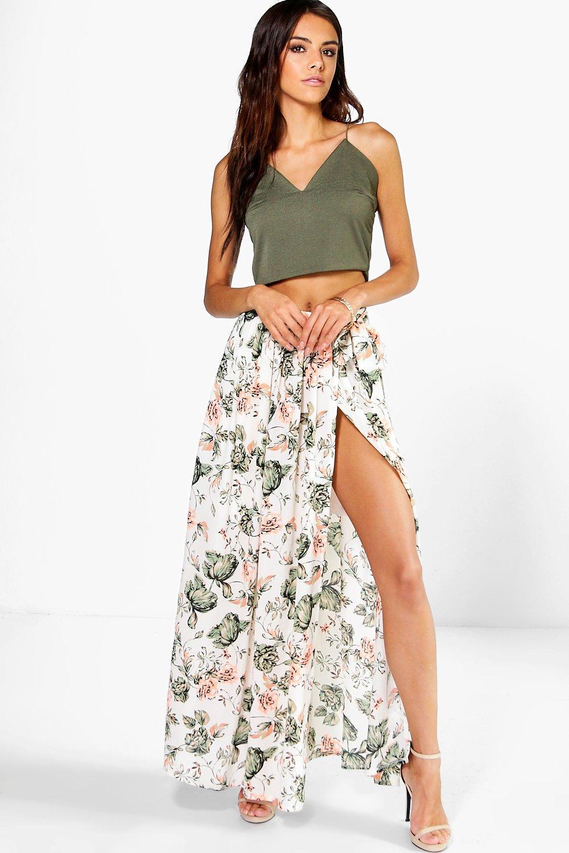 Sofia Neon Floral Chiffon Wrap Maxi Skirt at boohoo.com