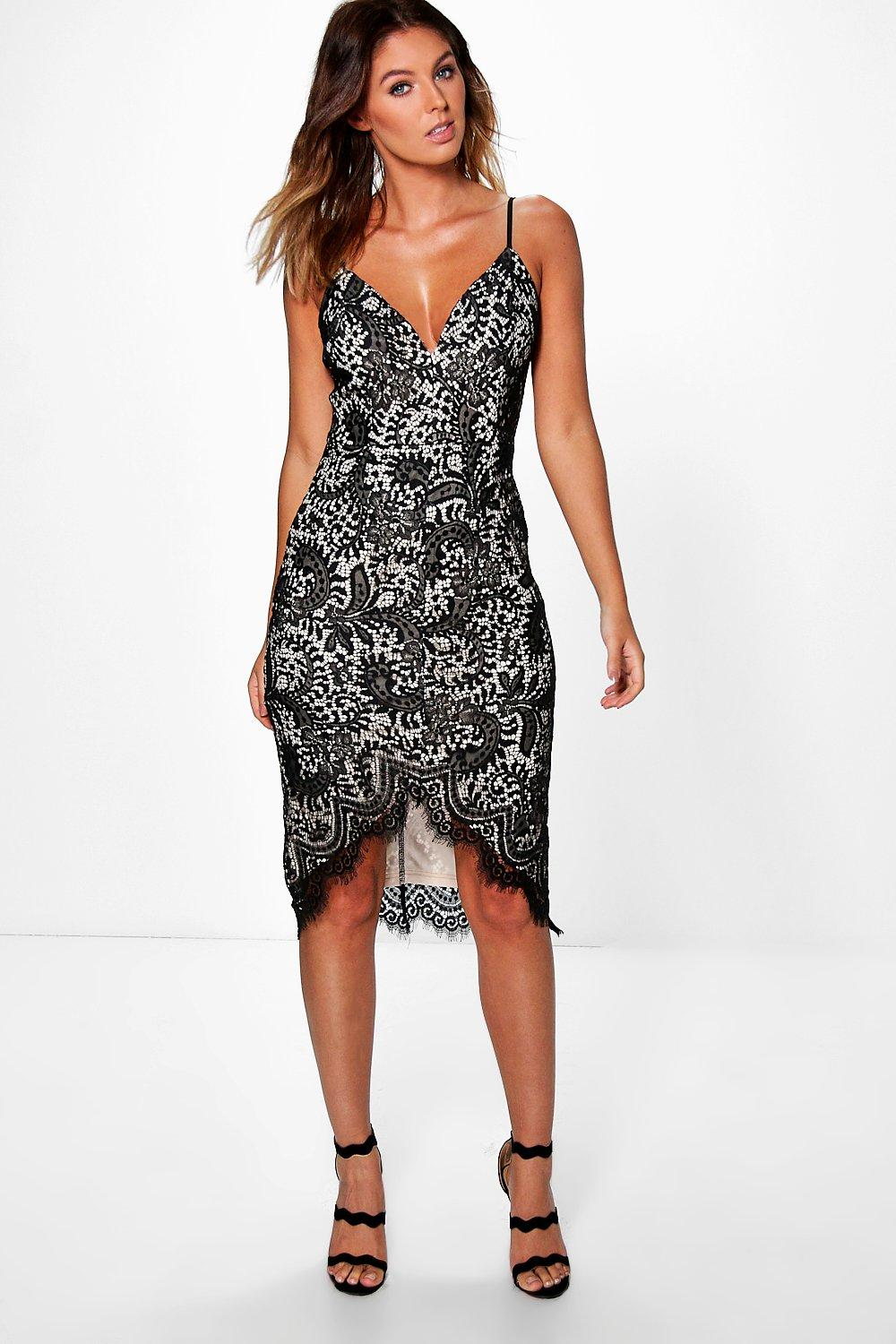 Boutique Emi Strappy Eyelash Lace Midi Dress