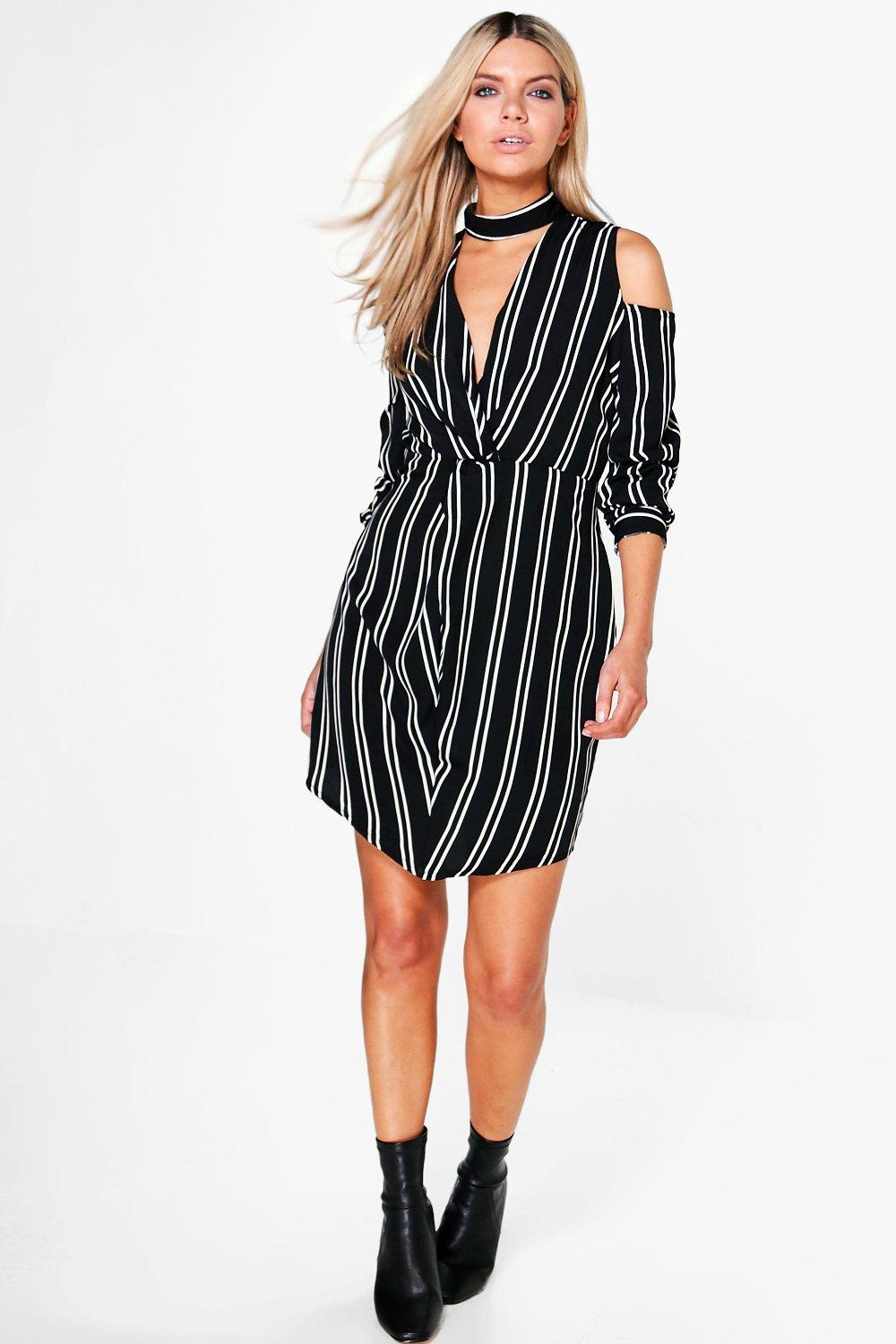 Cara Stripe Plunge Cold Shoulder Shift Dress