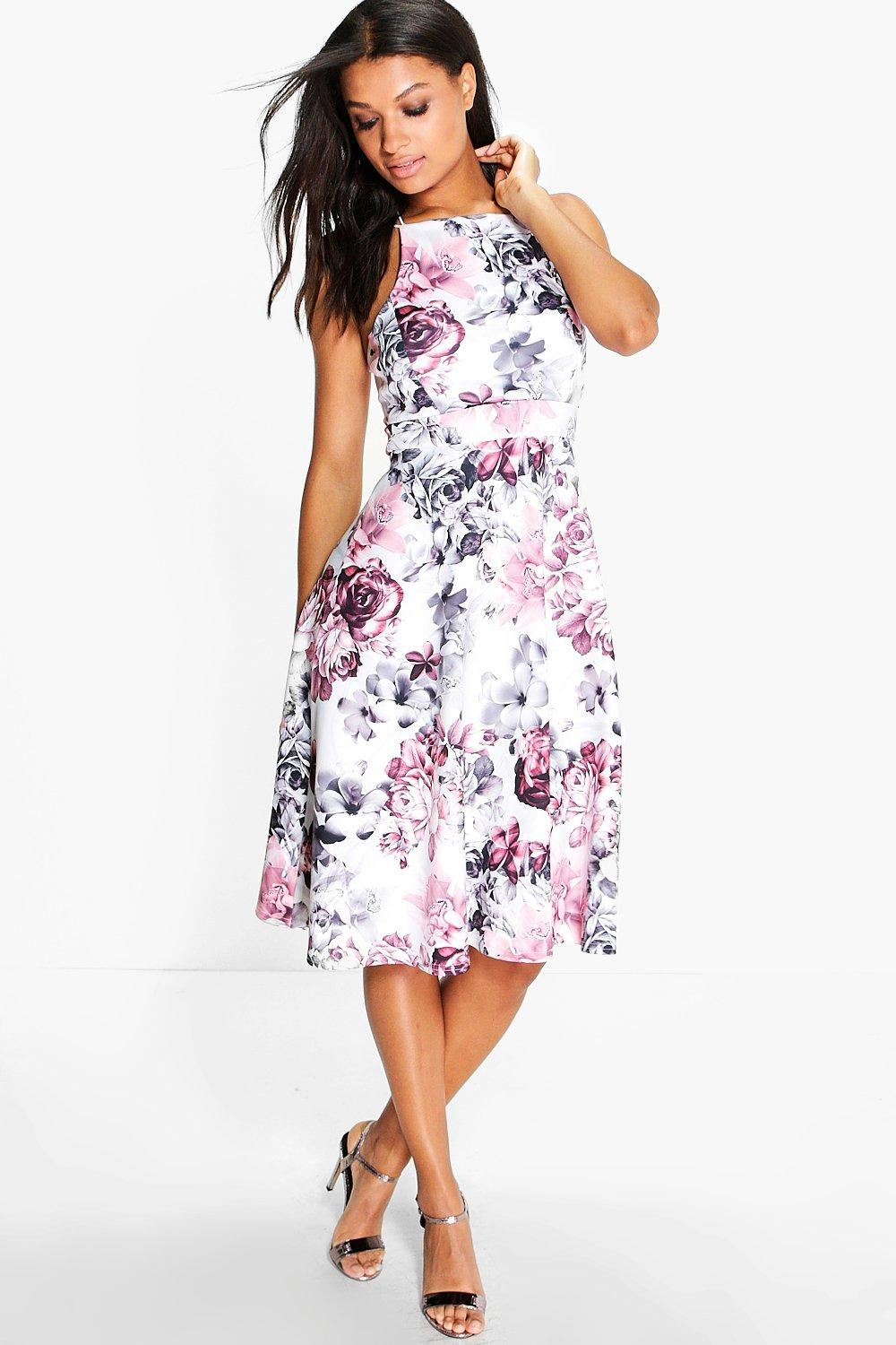Aimee Floral Strappy Skater Midi Dress