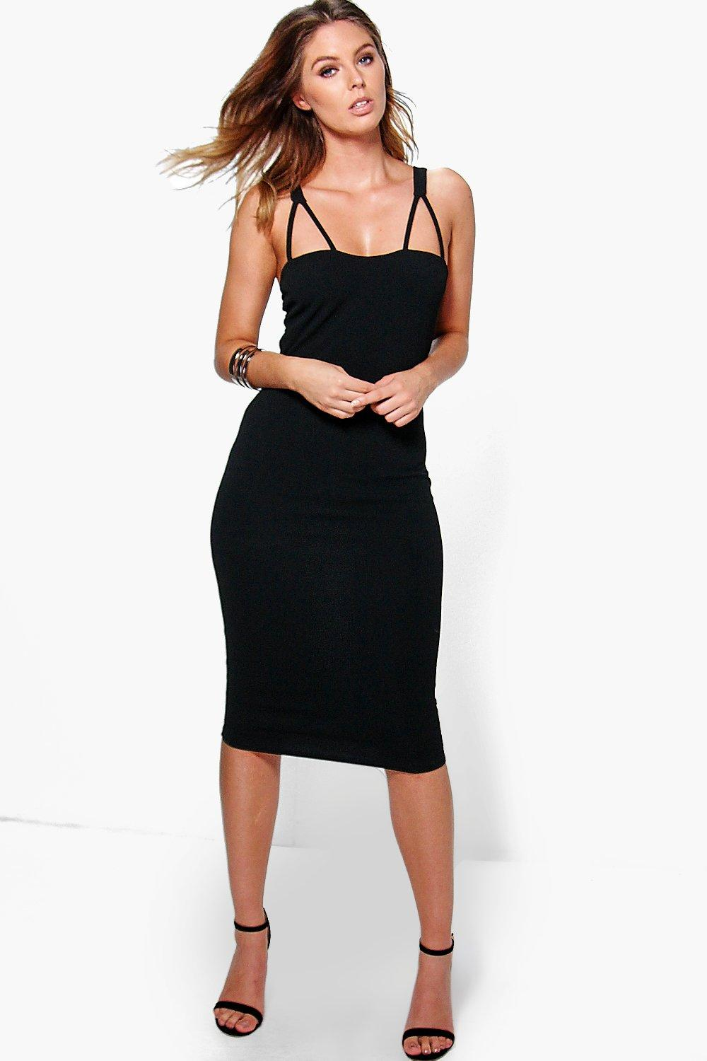 Debbie Double Strap Sweetheart Neck Midi Dress