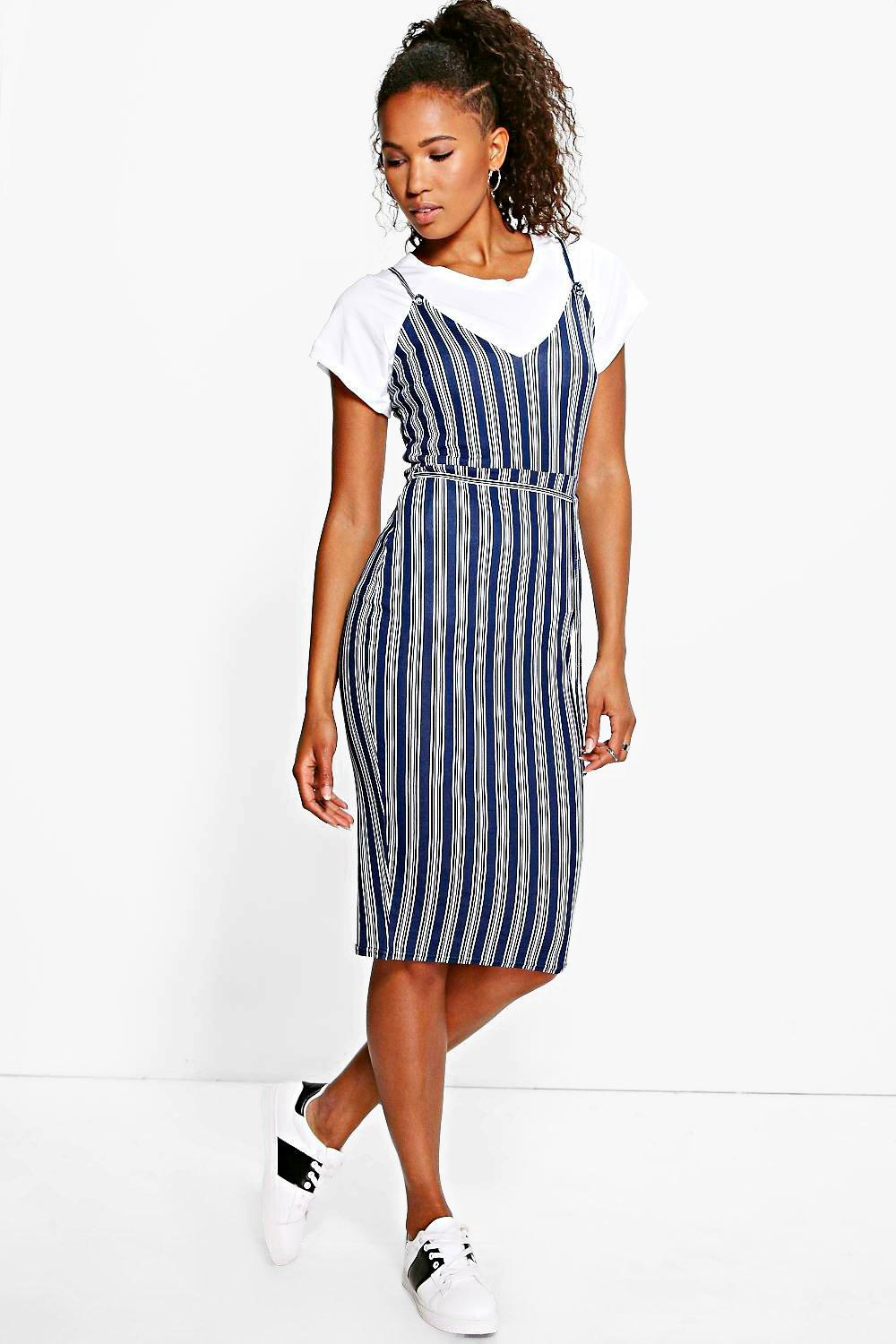Constance Stripe Tie Waist Midi Dress