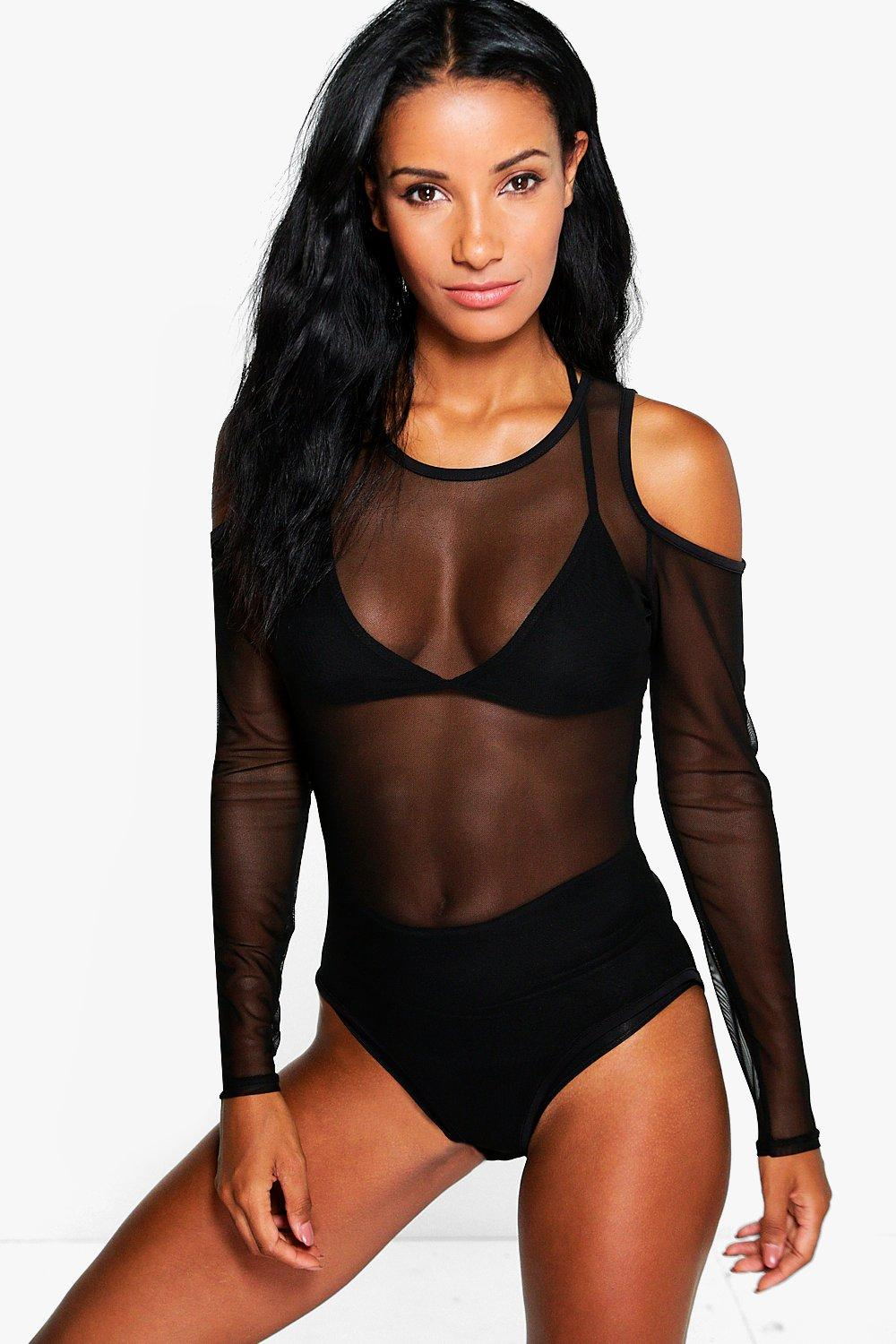 Phoebe Cold Shoulder Mesh Body