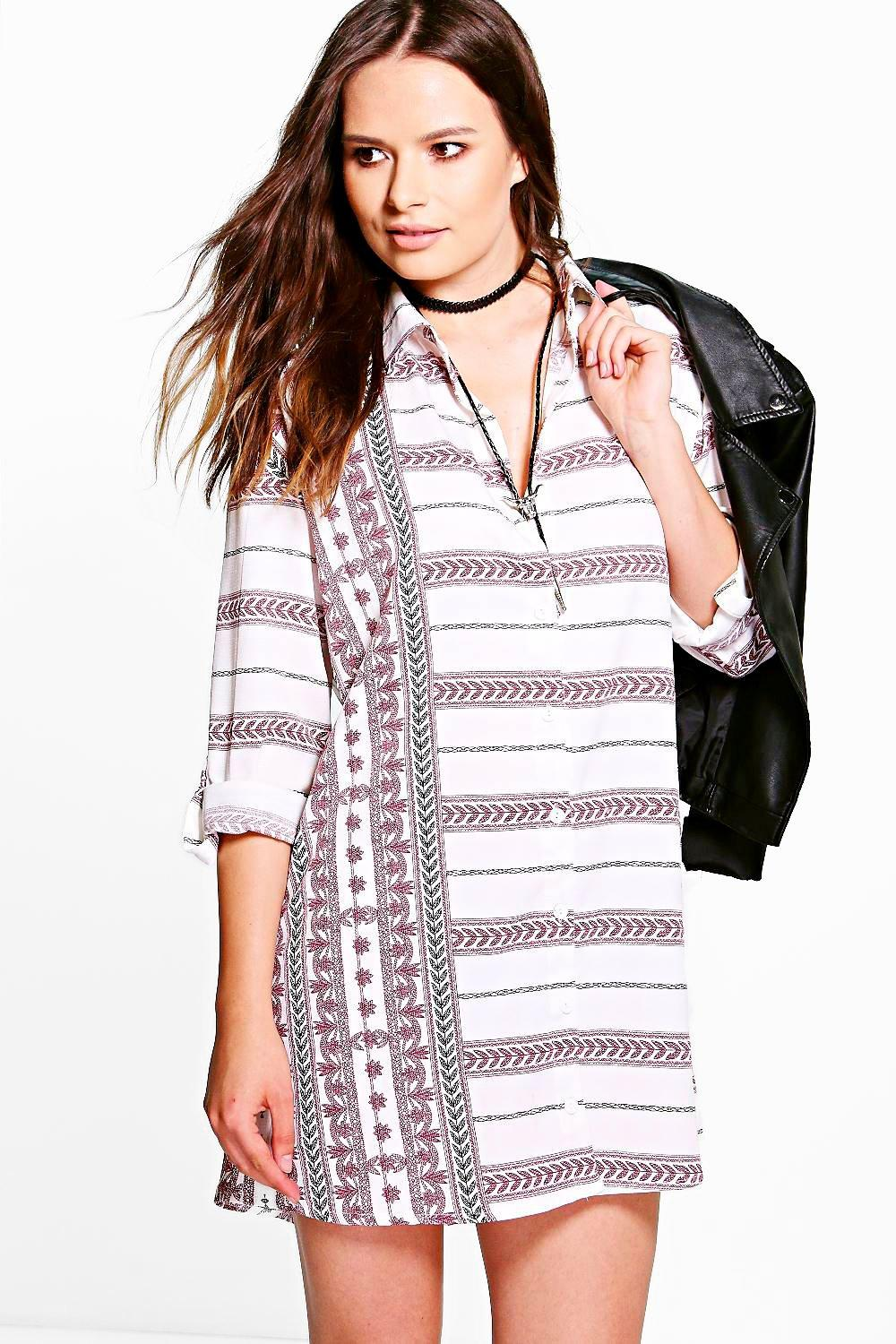 Reema Printed Stripe Shirt Dress