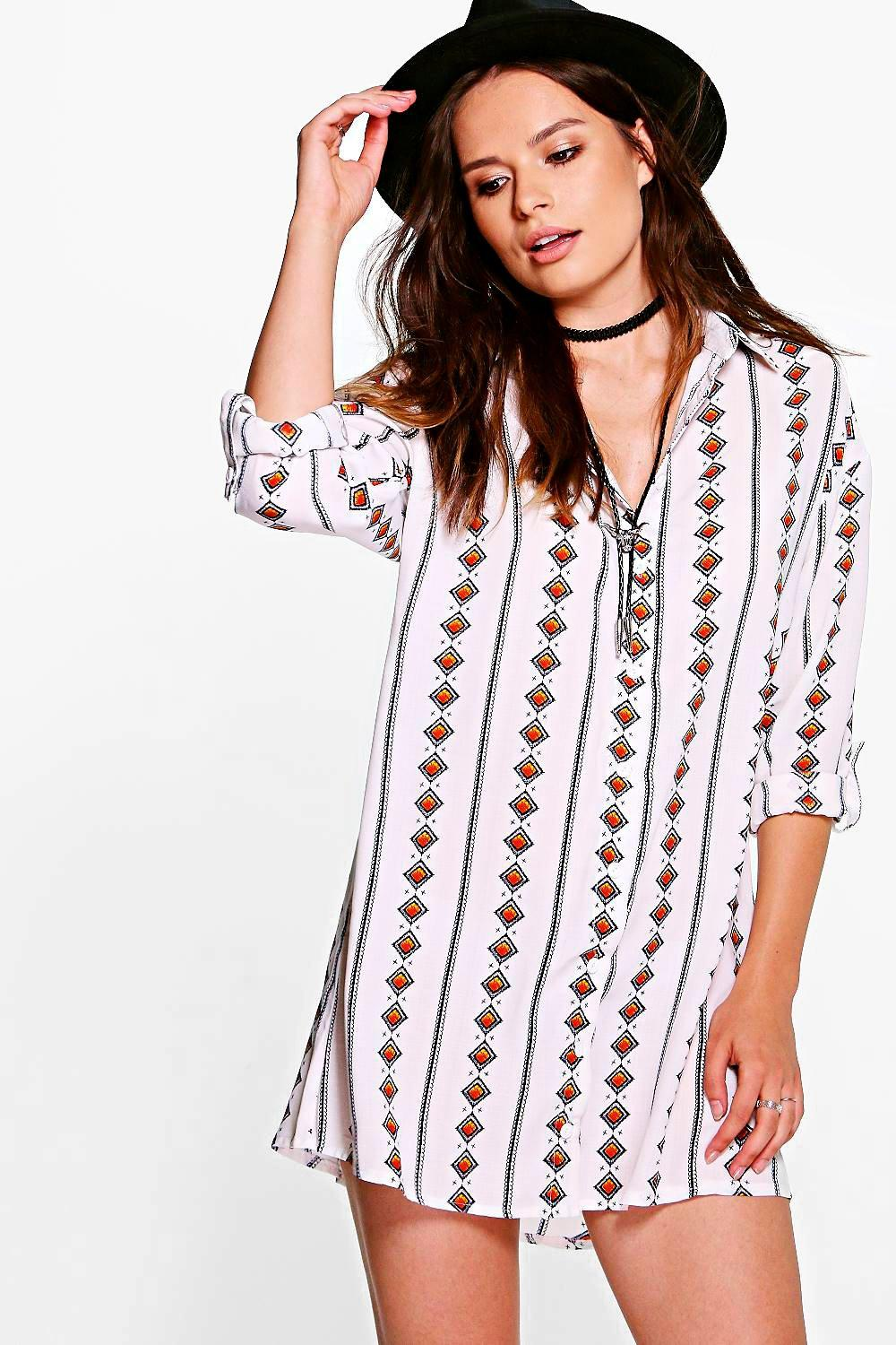 Astrid Diamond Print Shirt Dress