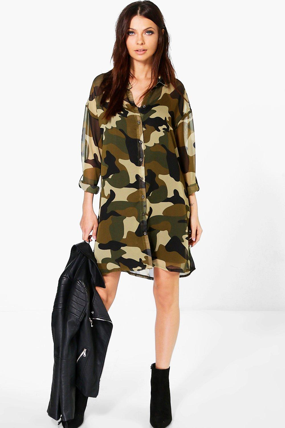 Nikita Camo Print Shirt Dress