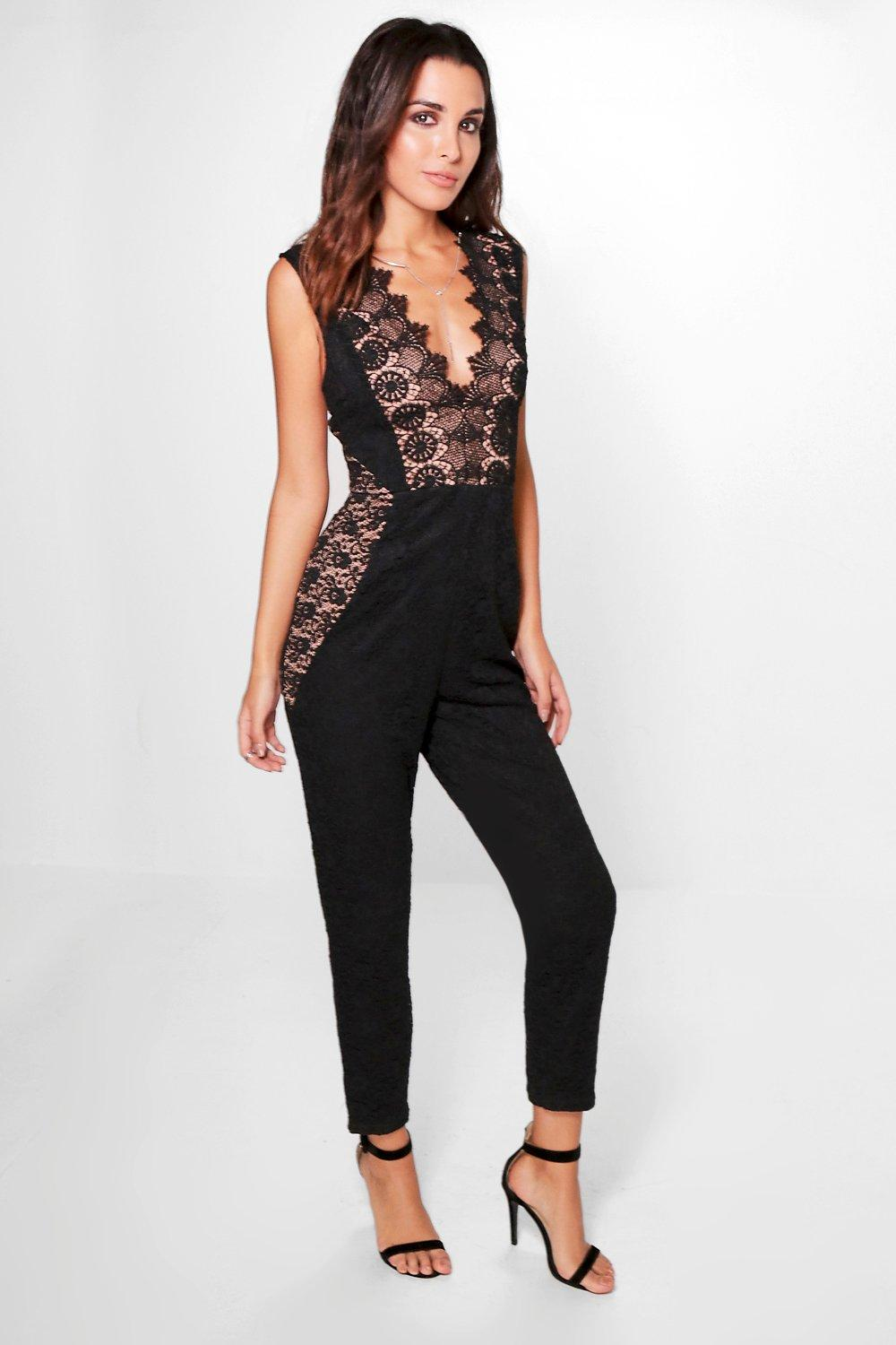 Boutique Mia Lace Panelled Wide Leg Jumpsuit
