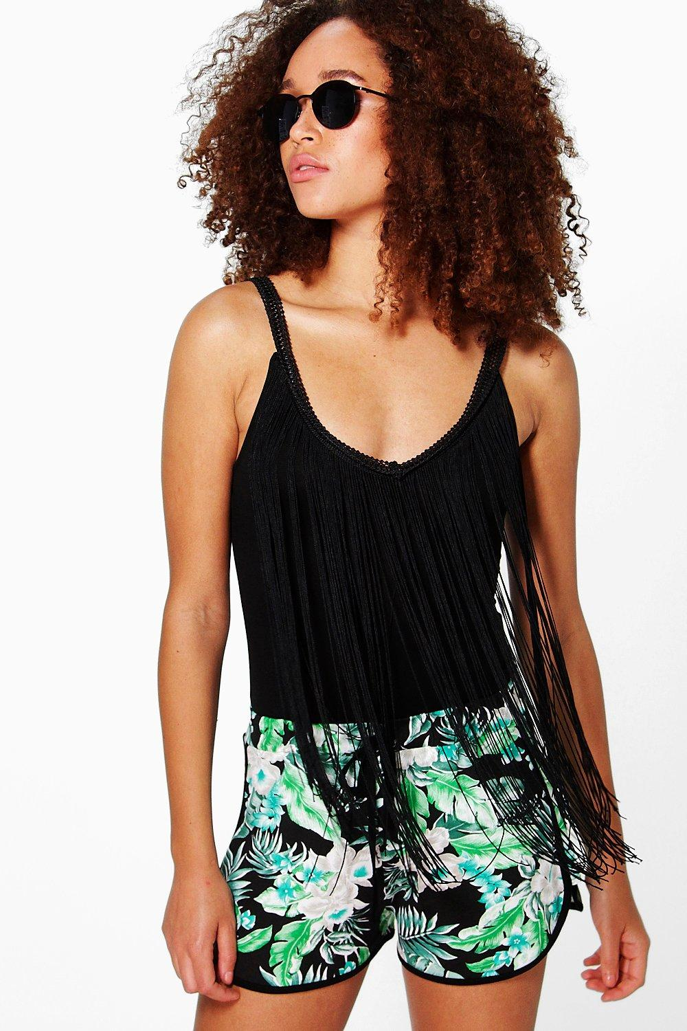 Perry Palm Print Contrast Trim Runner Shorts