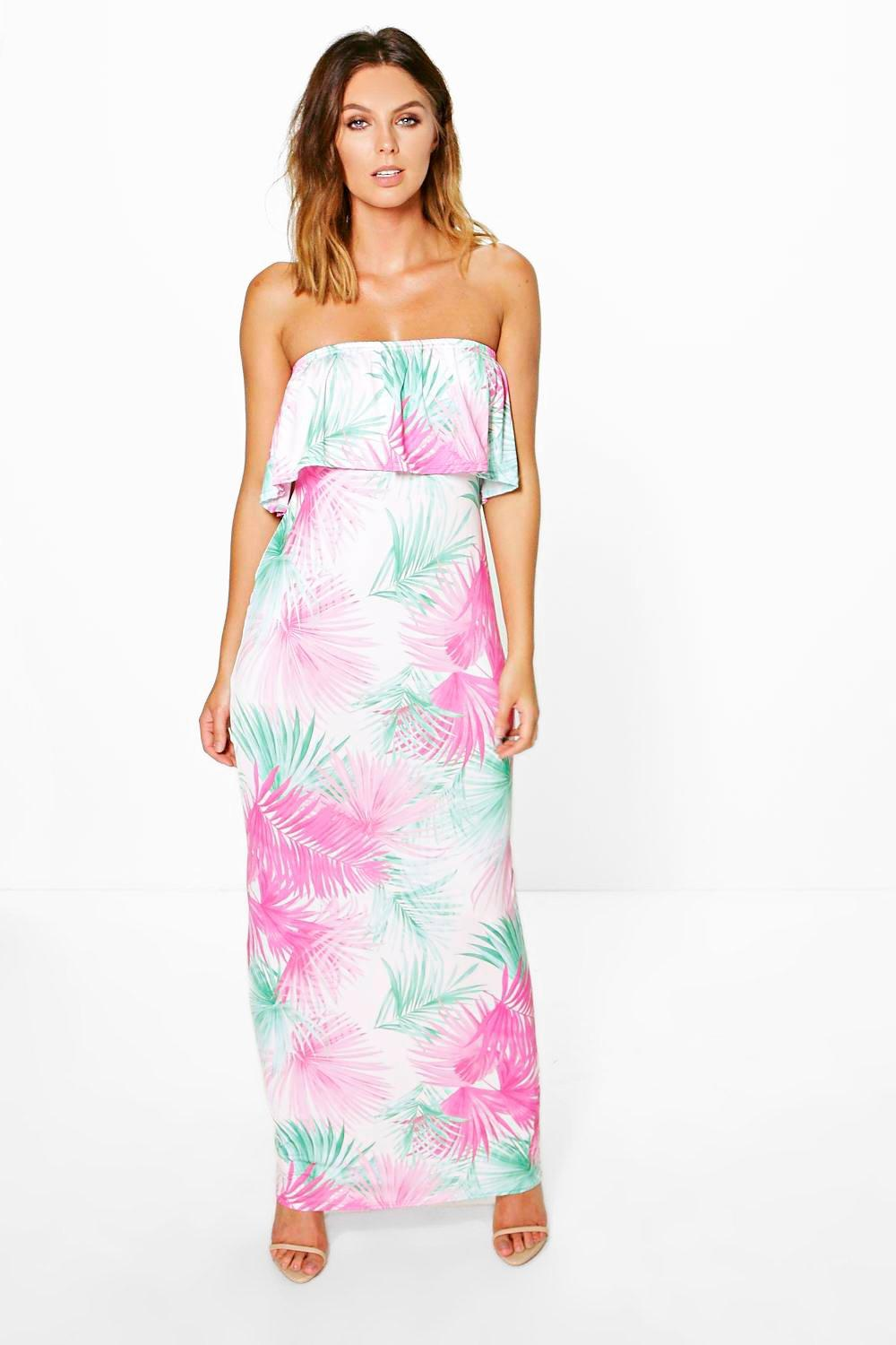 Sara Bandeau Detail Printed Maxi Dress
