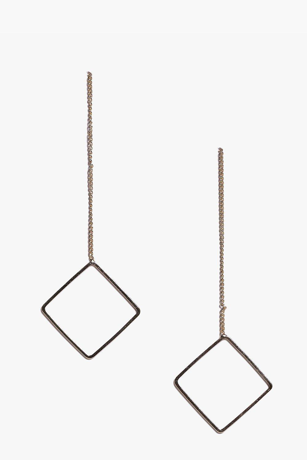 Ava Simple Skinny Diamond Drop Earrings