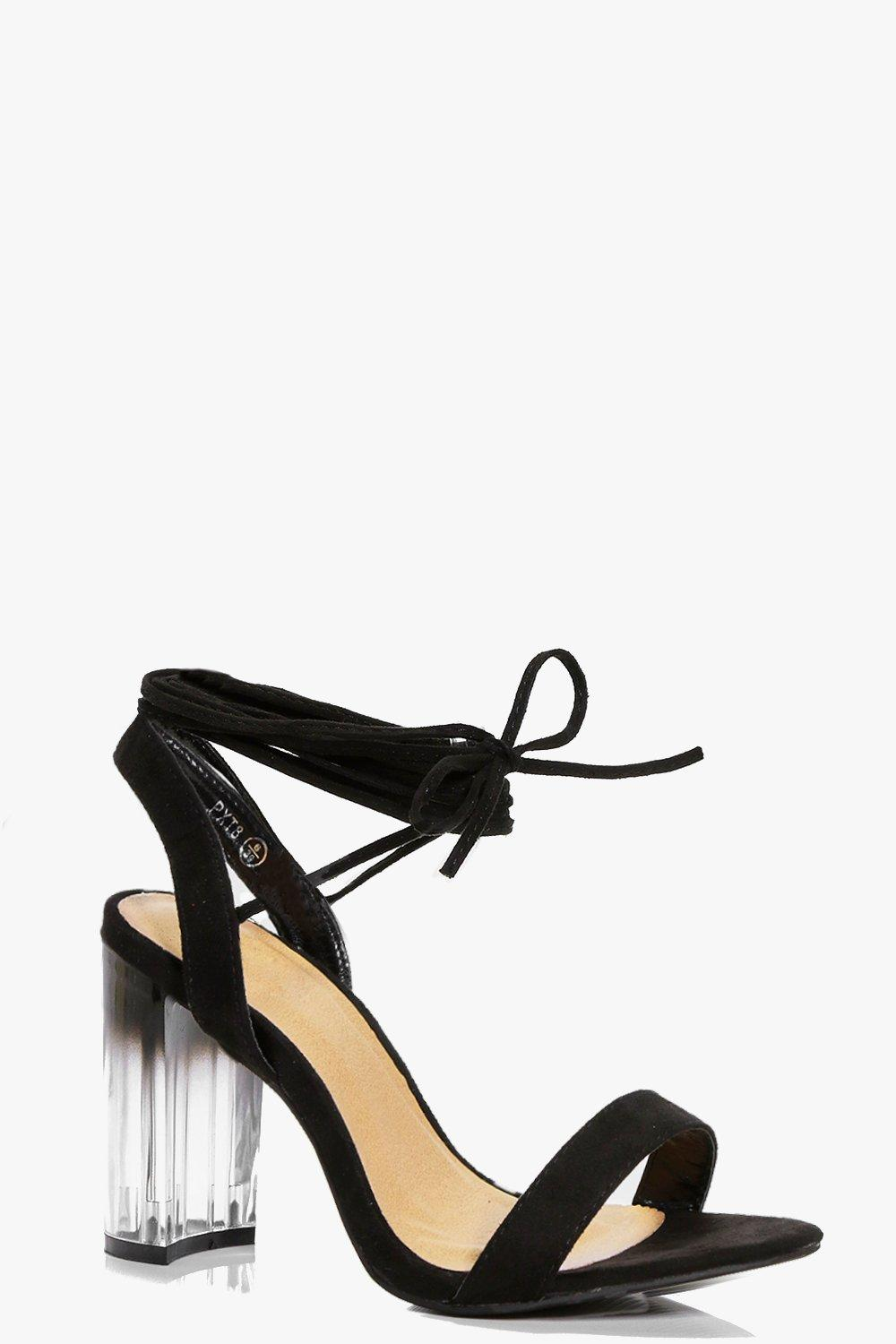 Ellie Wrap Strap Clear Block Heel
