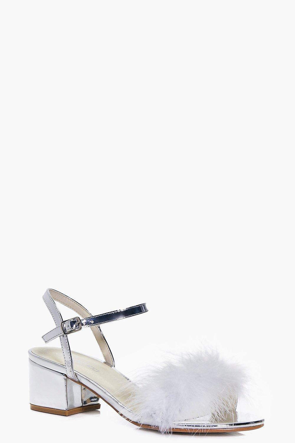 Keira Peeptoe Feather Trim Block Heels