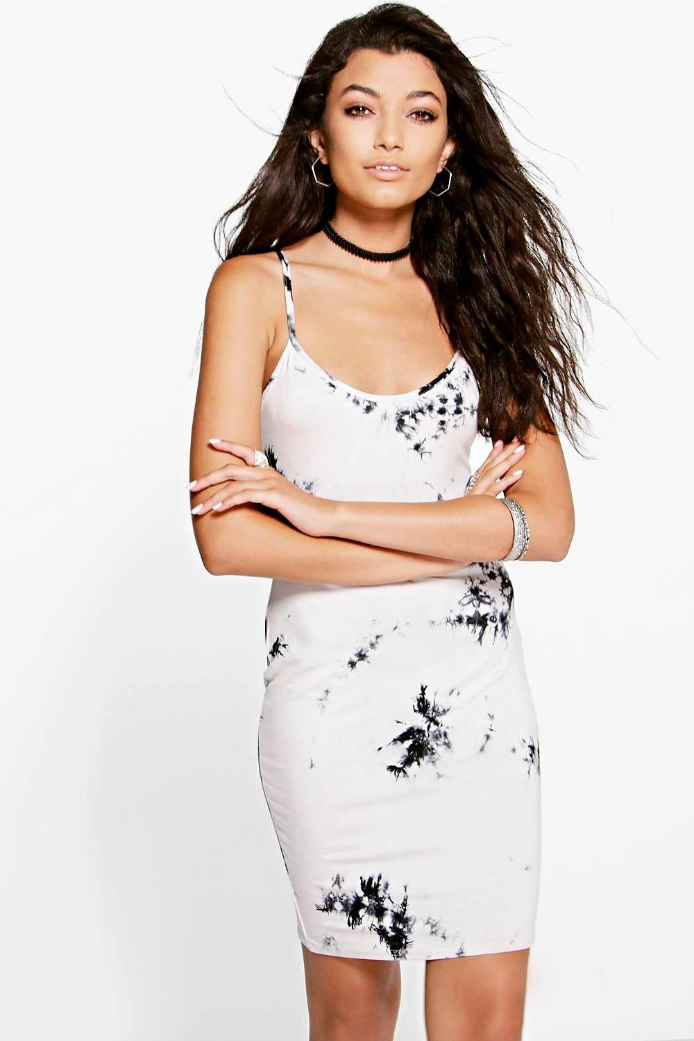 Lily Tie Dye V Neck Strappy Bodycon Dress