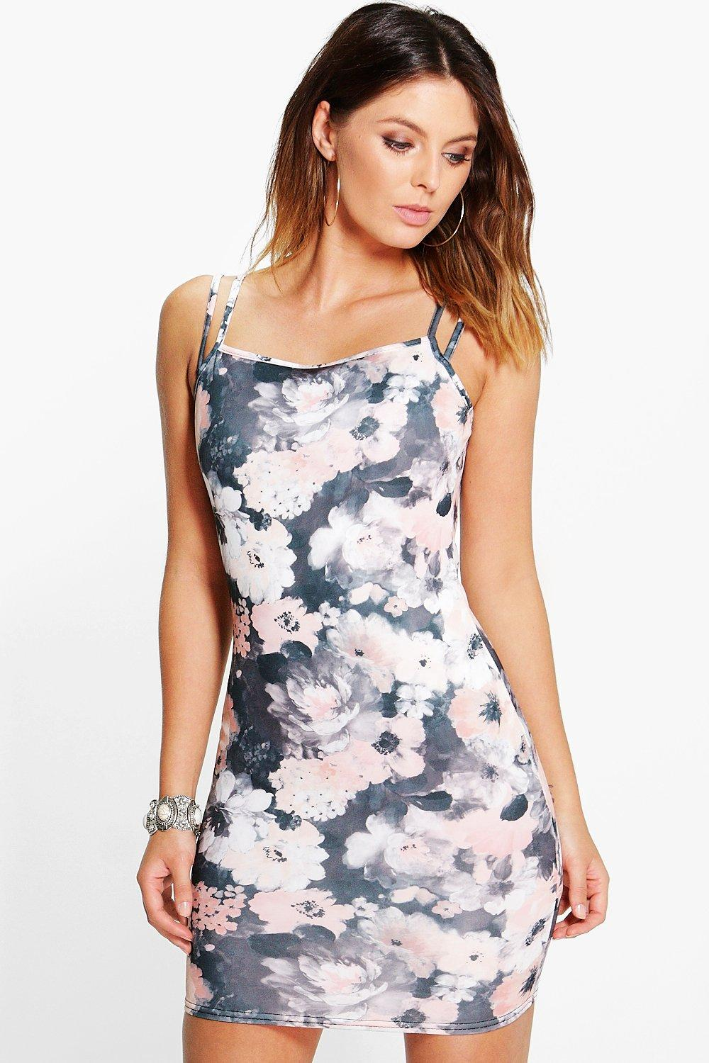 Felicity Floral Double Strap Bodycon Dress