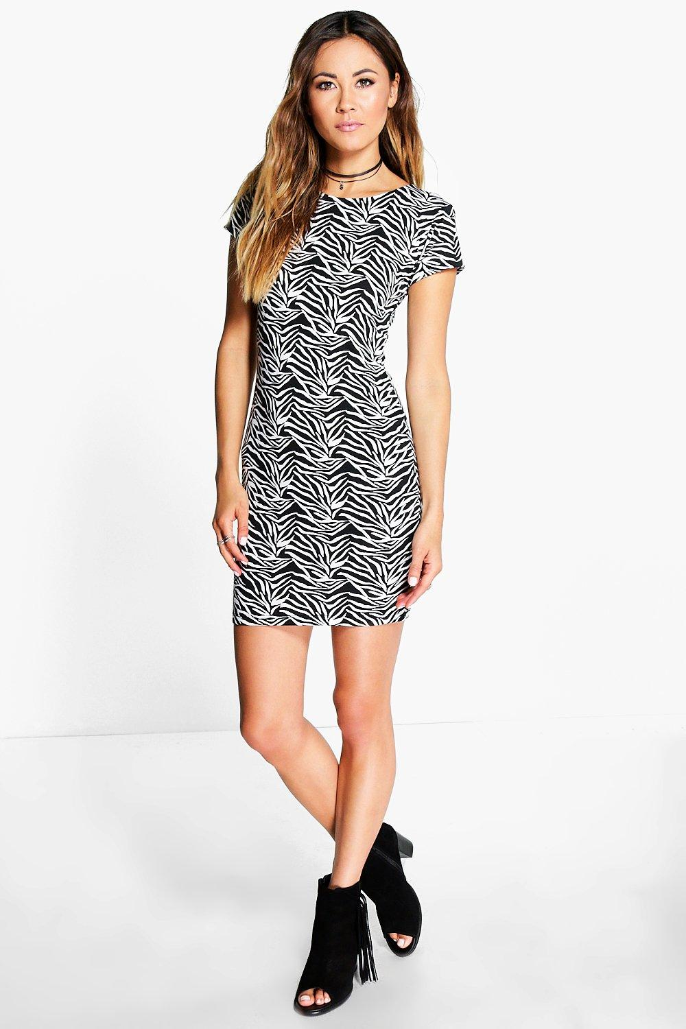 Lo Zebra Print Cap Sleeved Bodycon Dress
