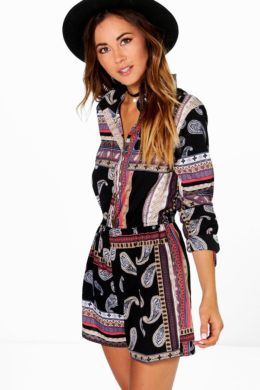 Polly Paisley Print Shirt Style Playsuit