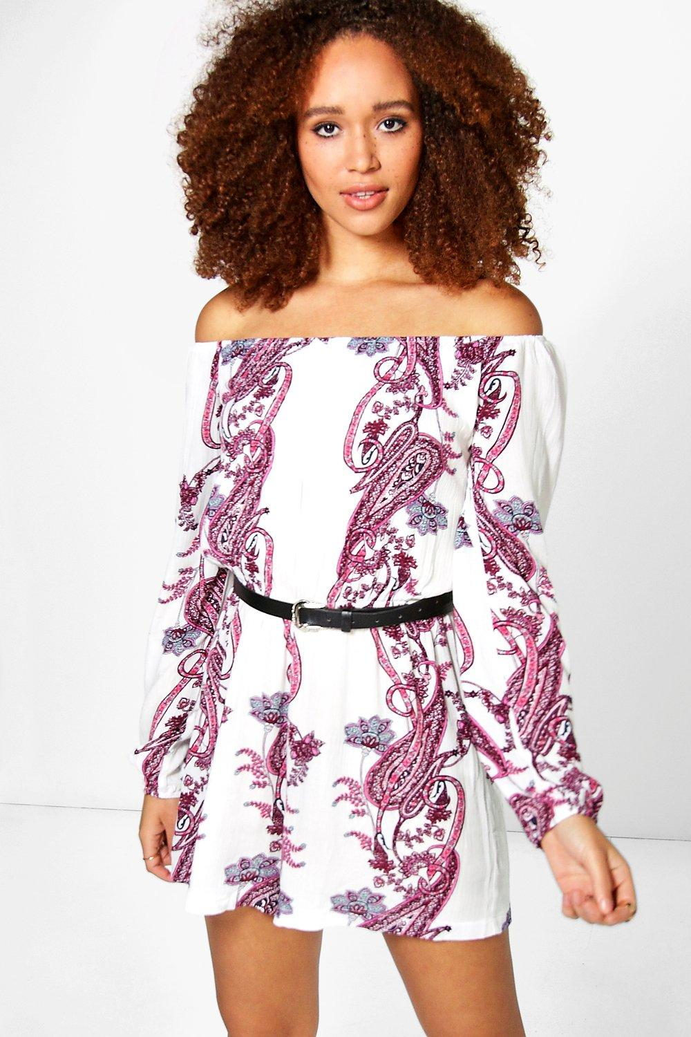 Julia Large Paisley Off The Shoulder Playsuit