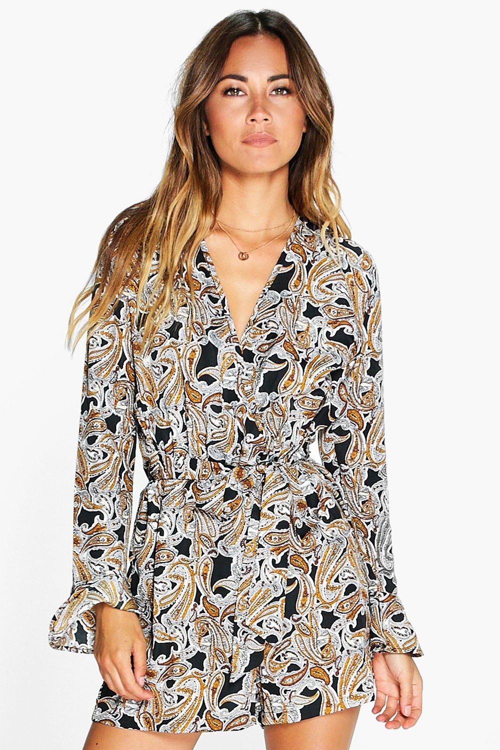 Wilma Wrap Front Paisley Playsuit