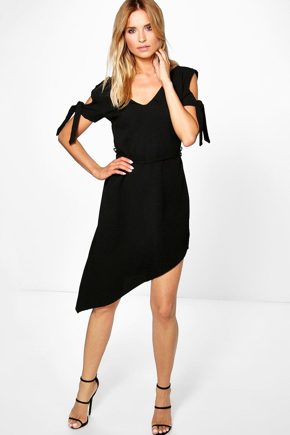 Mia Asymmetric Belted Dress