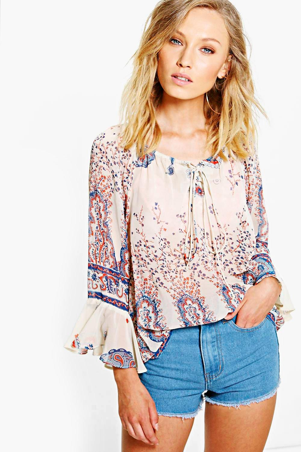 Laura Printed Flute Sleeve Blouse