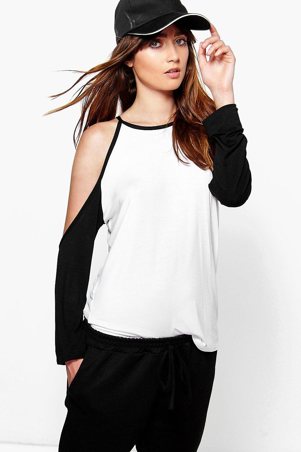 Sarah Cold Shoulder Baseball Tee