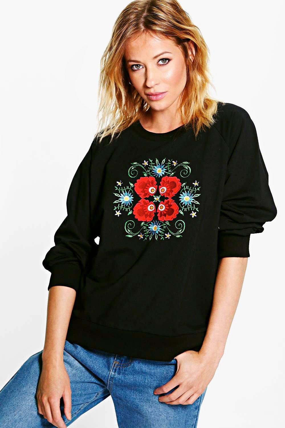 Daisy Applique & Embroidered Sweatshirt