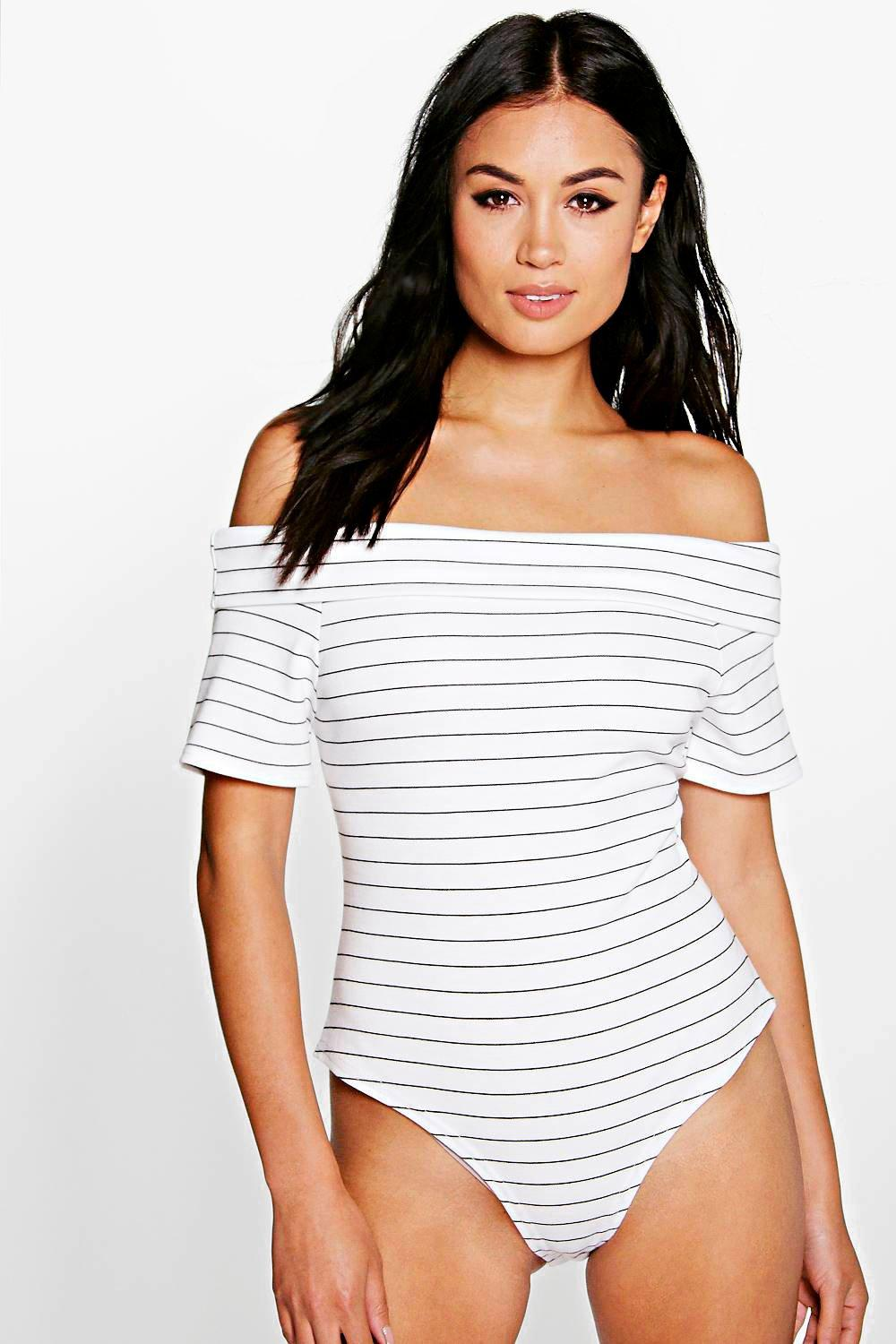 Hazel Striped Bardot Bodysuit