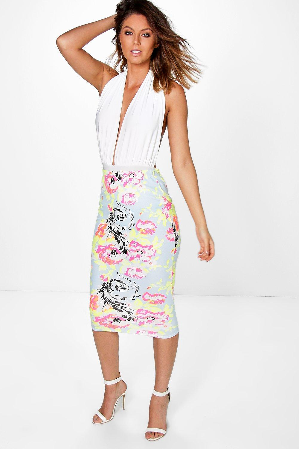 Loriana Bright Floral Bodycon Midi Skirt