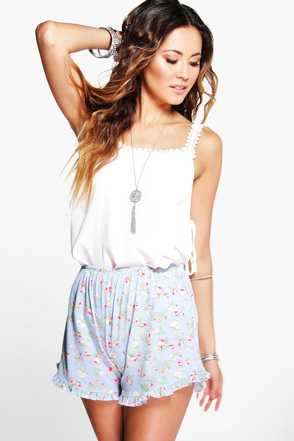 Maya Rose Printed Ruffle Hem Shorts