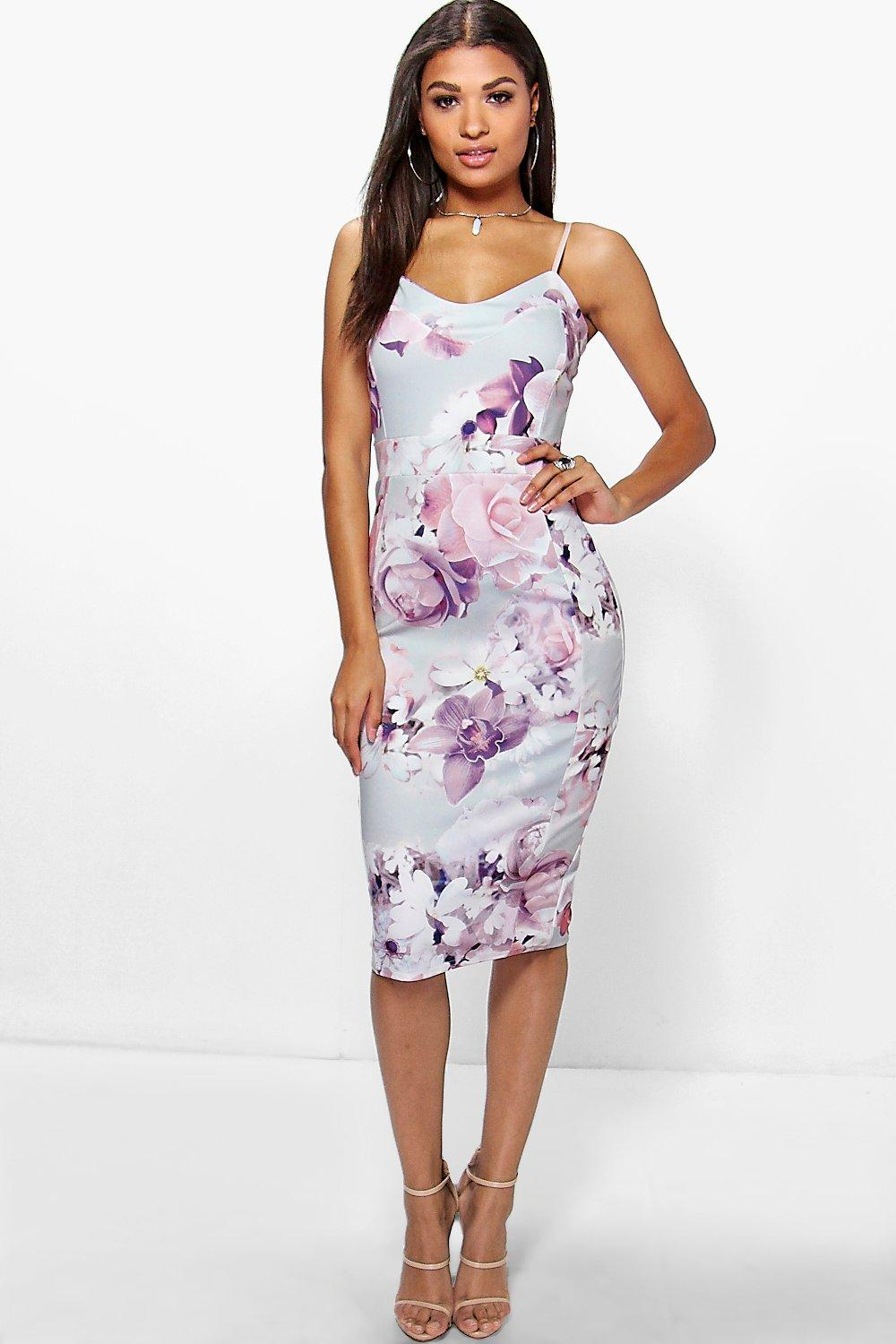 Fiona floral midi dress at for Boohoo dresses for weddings