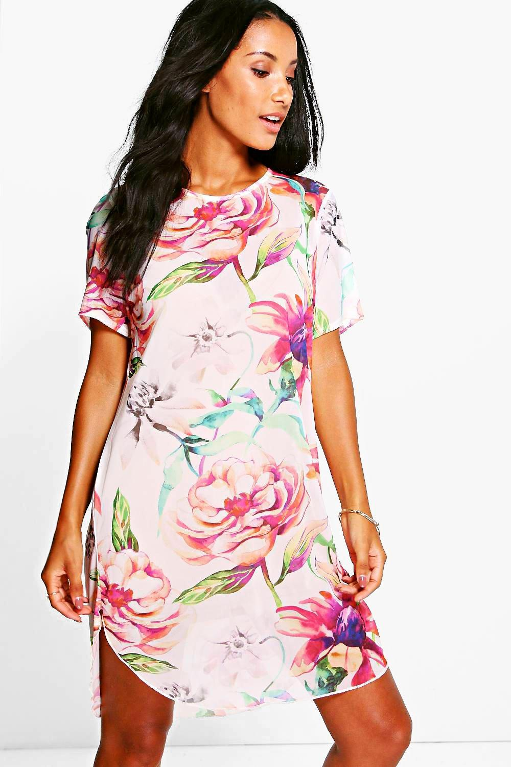 Sophia Floral Mesh Shift Dress