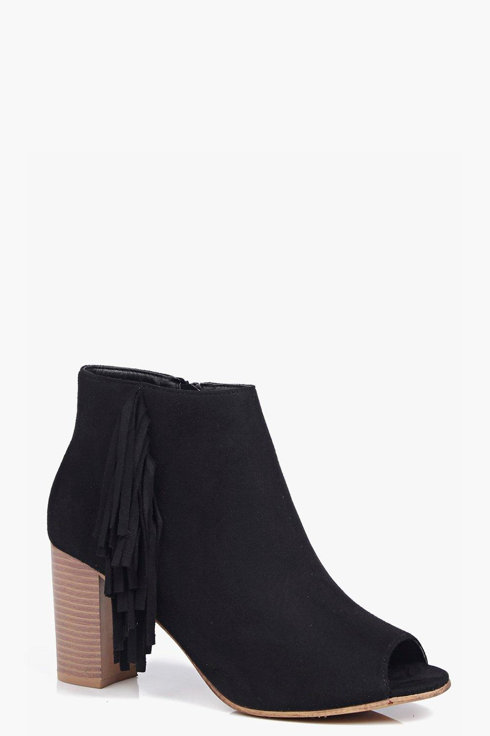 Lacey Peeptoe Fringe Trim Summer Boot