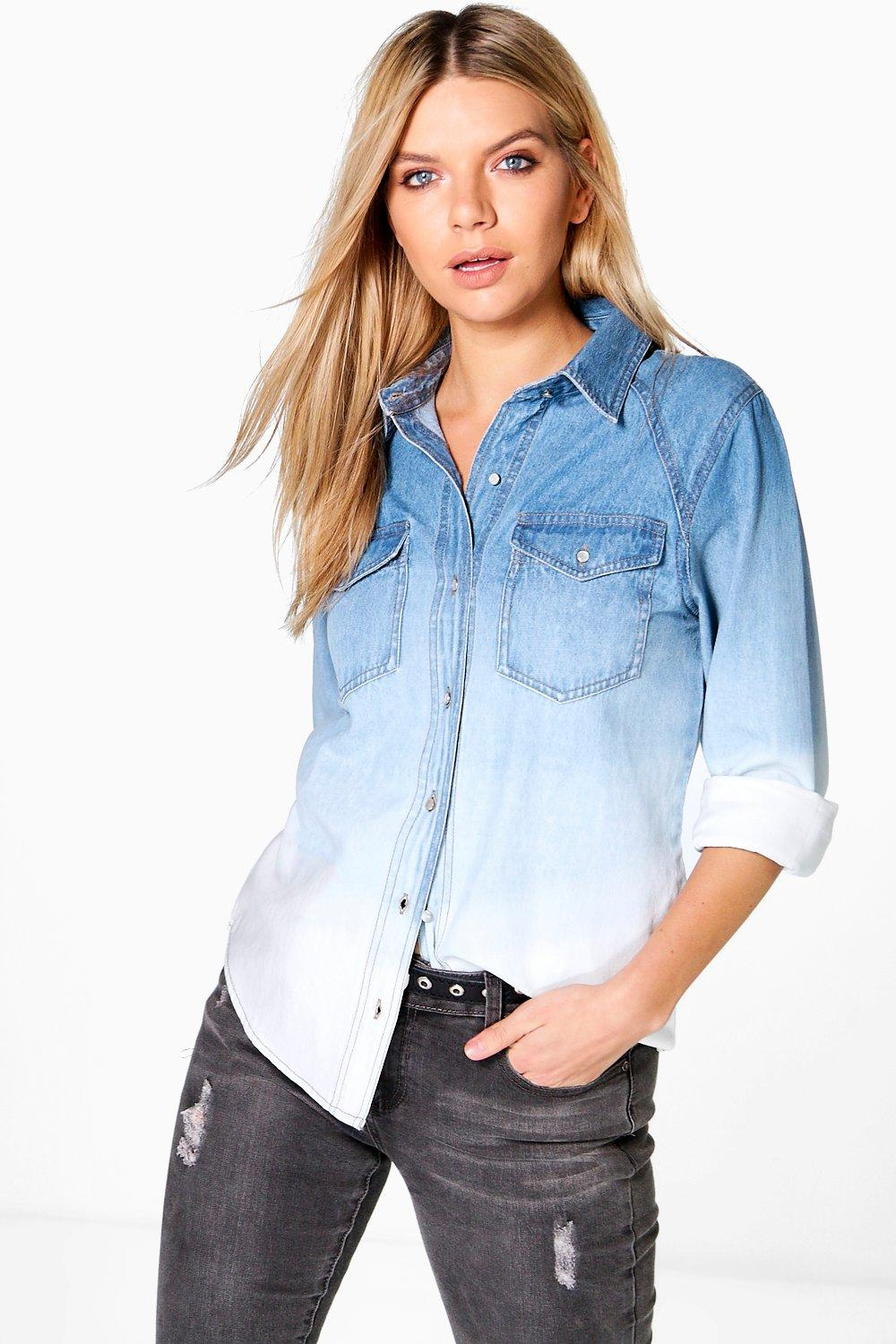 Kelly Dip Dye Ombre Denim Shirt