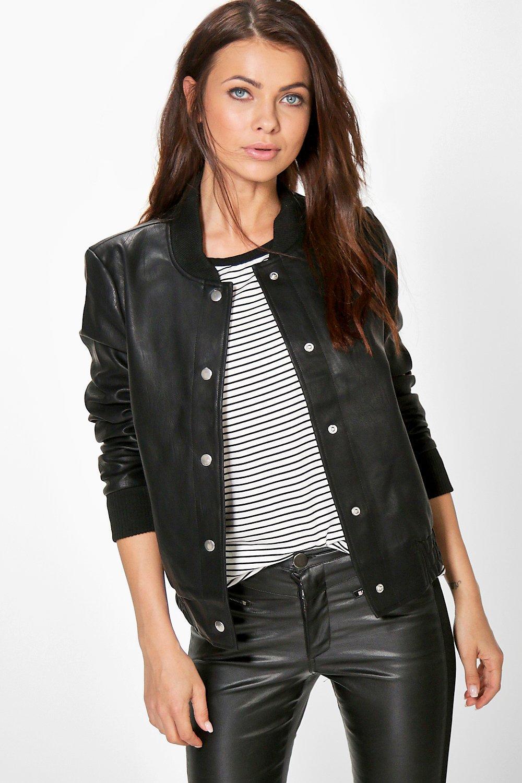 Jenny Faux Leather Bomber Jacket at boohoo.com