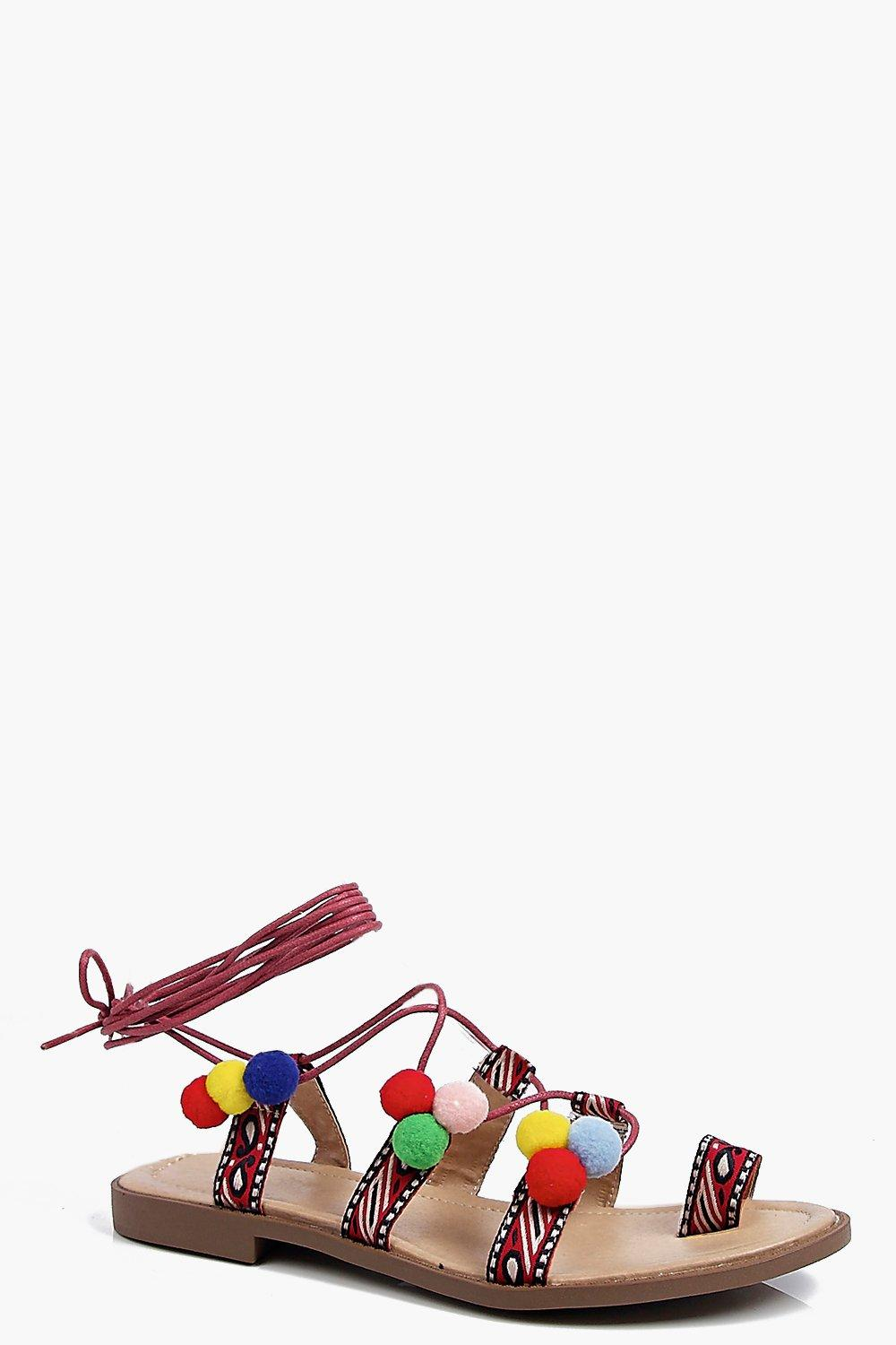 Darcy Printed Toe Post Pom Pom Sandal