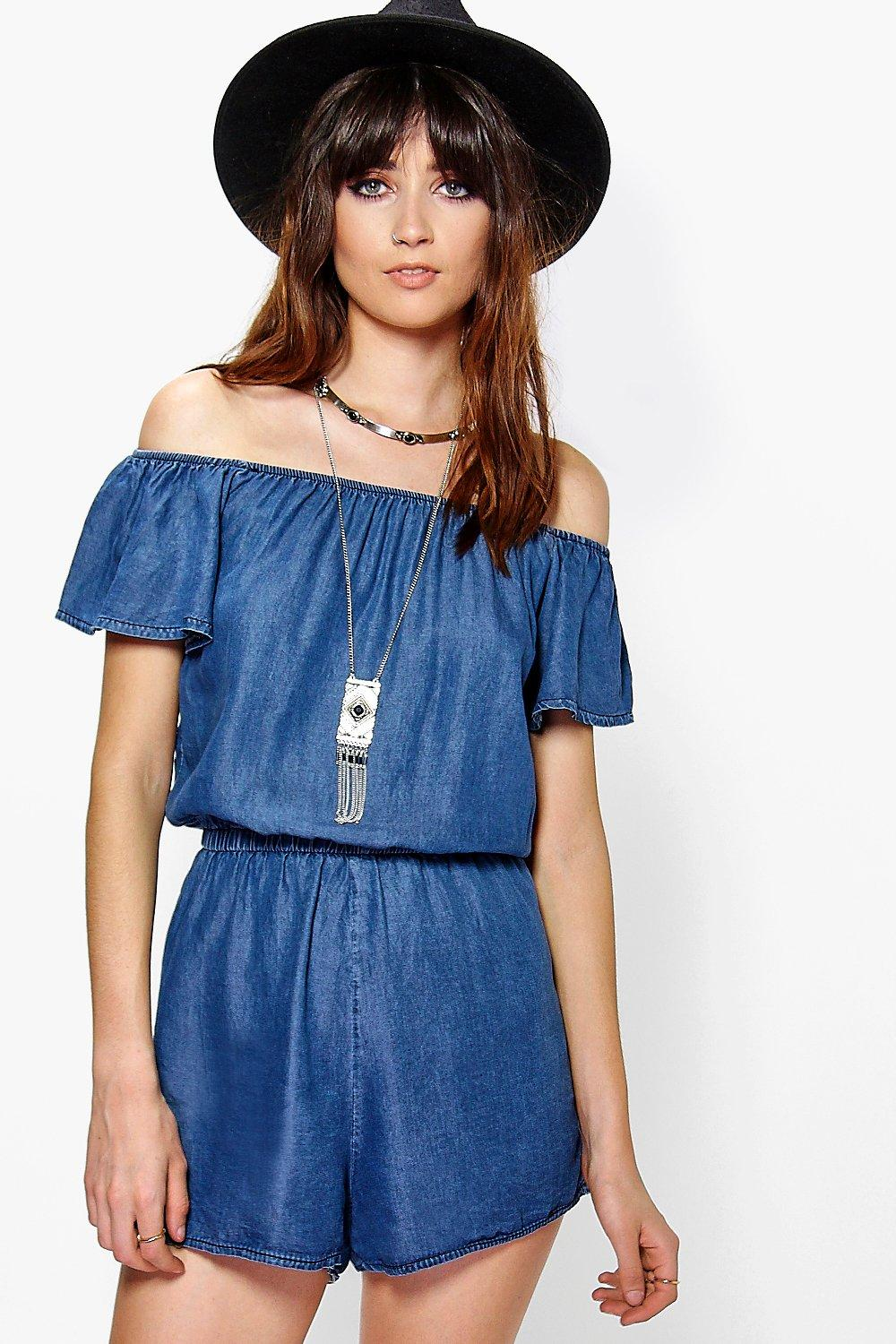 Eva Off The Shoulder Denim Playsuit