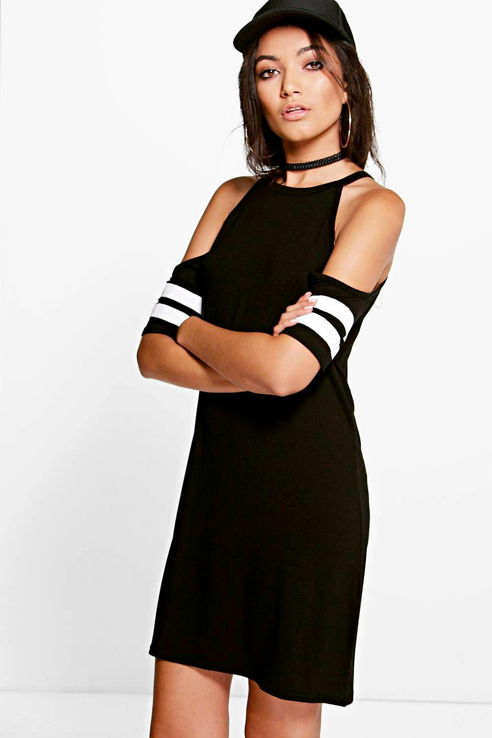 Sandy Cold Shoulder Sport Trim Shift Dress