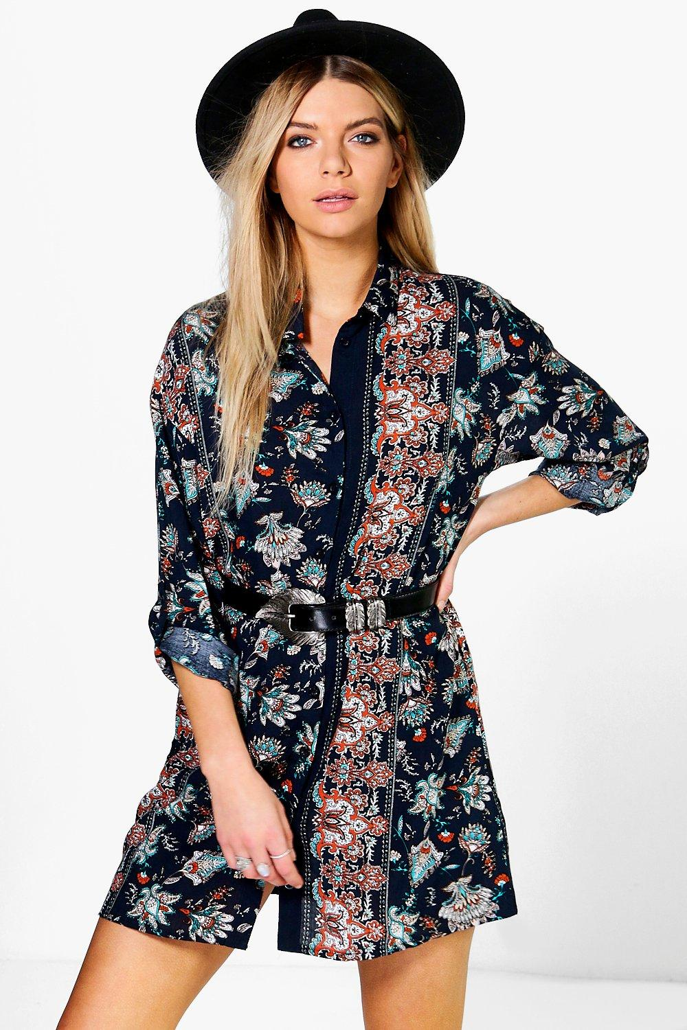 Titania Border Print Oriental Shirt Dress