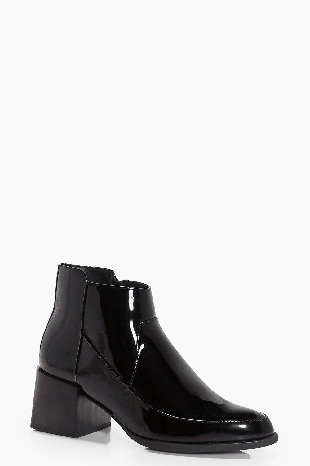 Grace Block Heel Patent Ankle Boot