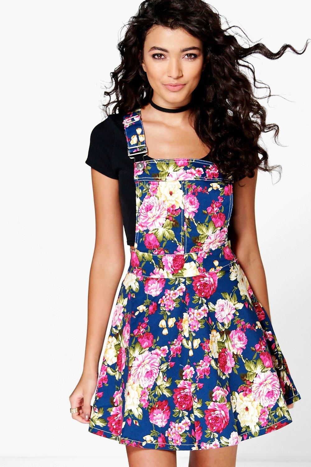 Casey Floral Print Denim Pinafore
