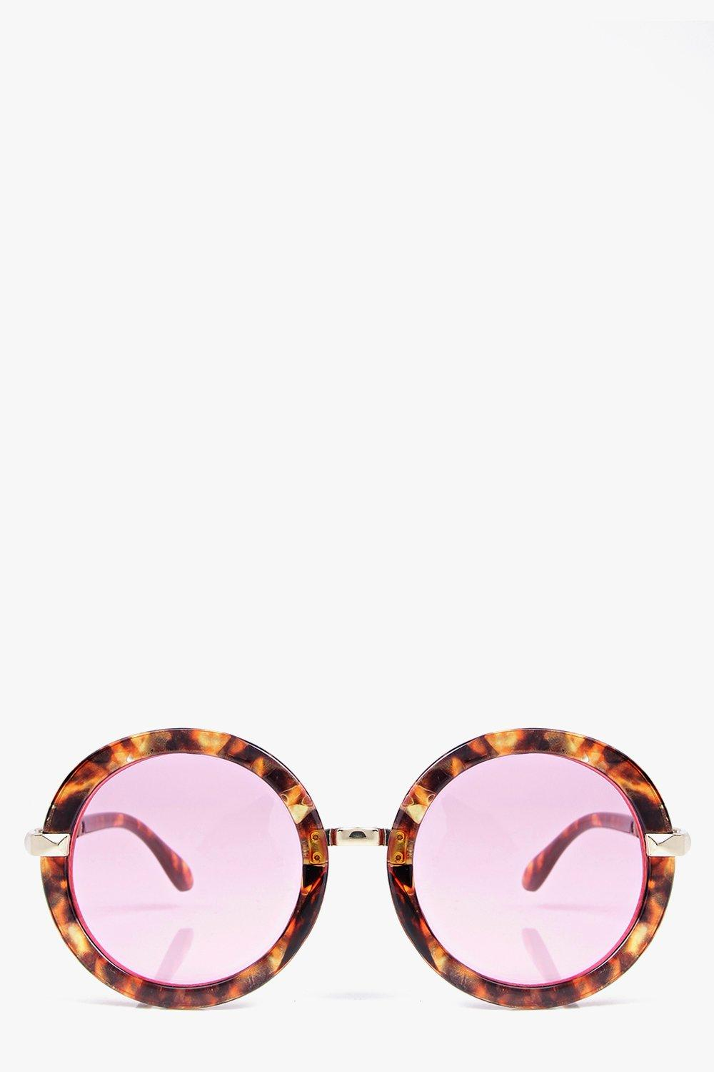 Amy Thick Tortoise Round Frame Sunglasses
