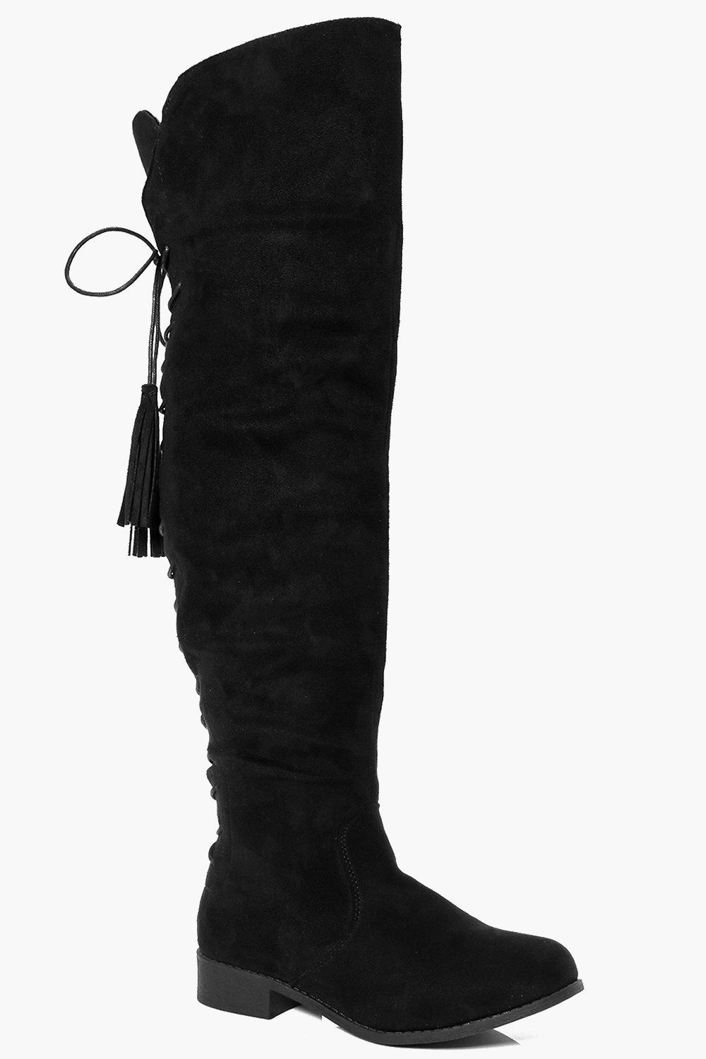 Rose Flat Lace Back Tassel Long Leg Boot