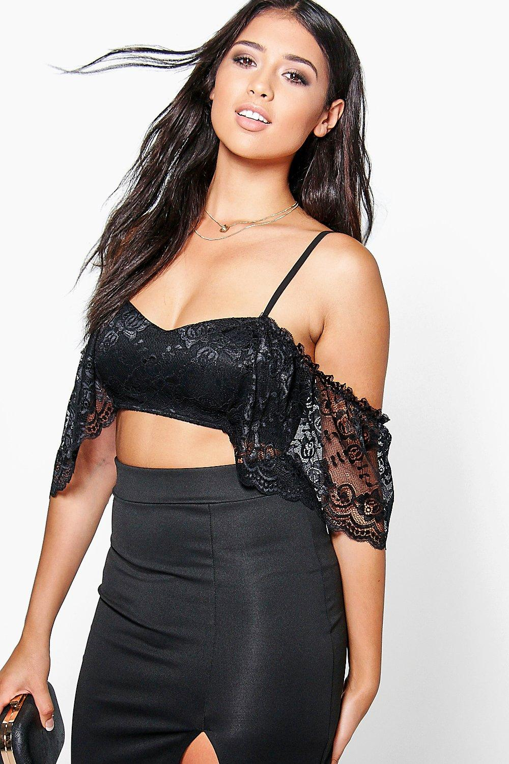 Rose Lace Cold Shoulder Crop