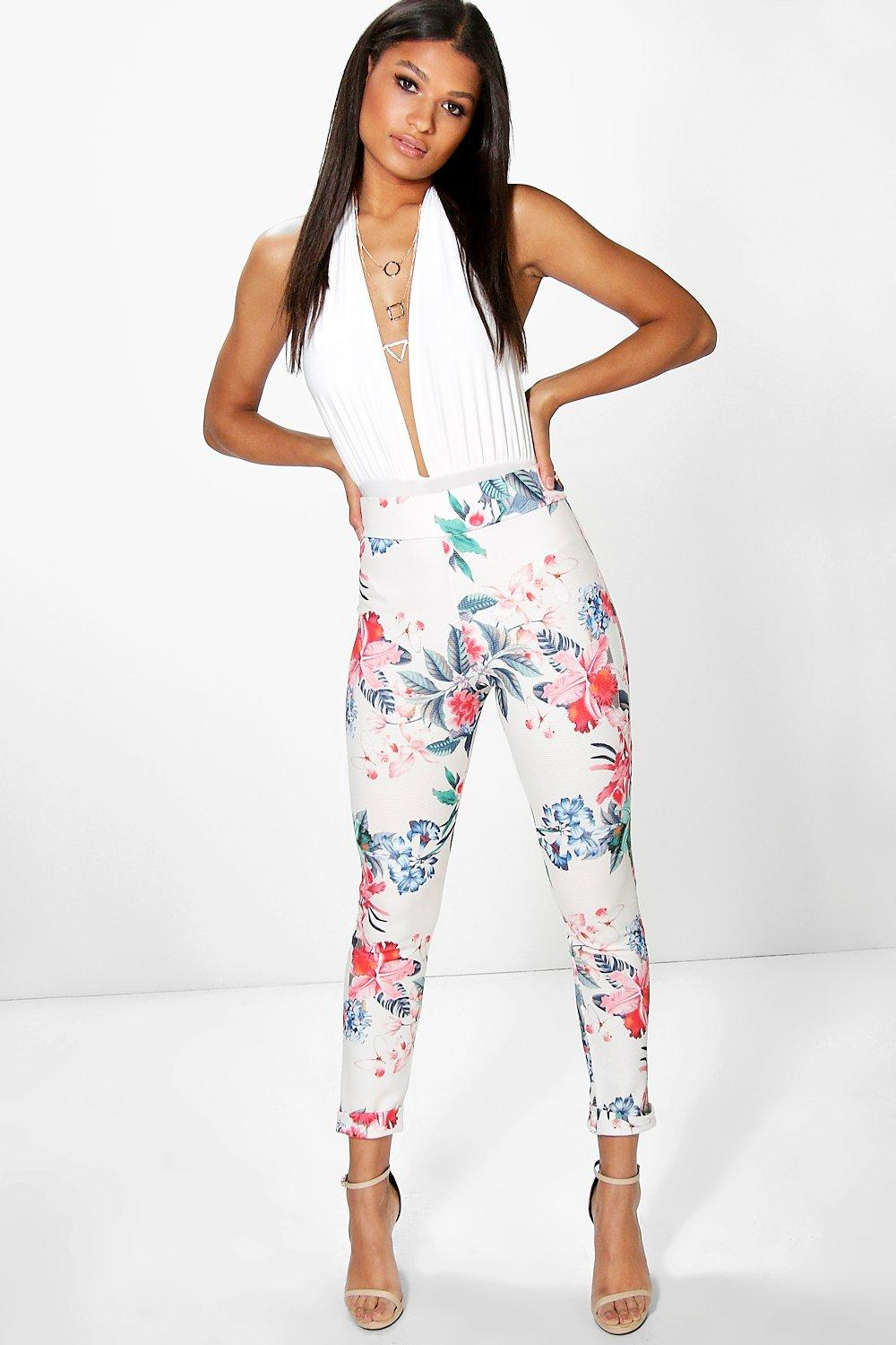 Simi Textured Floral Skinny Trousers