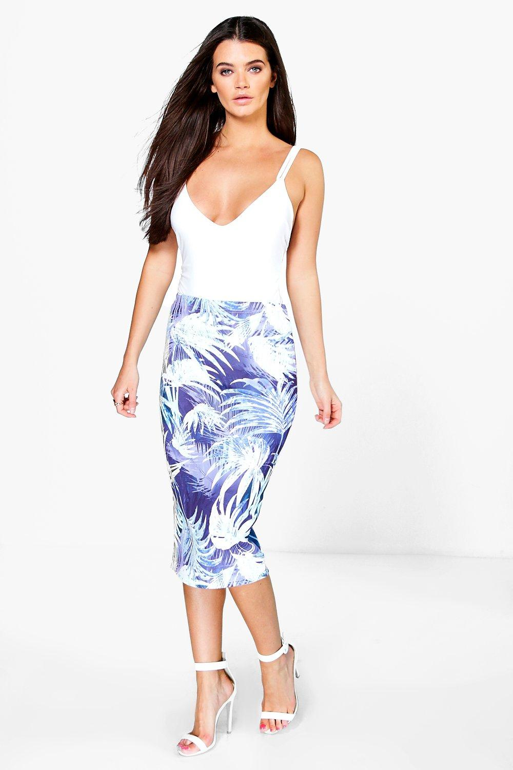 Shea Palm Digital Print Scuba Midi Skirt
