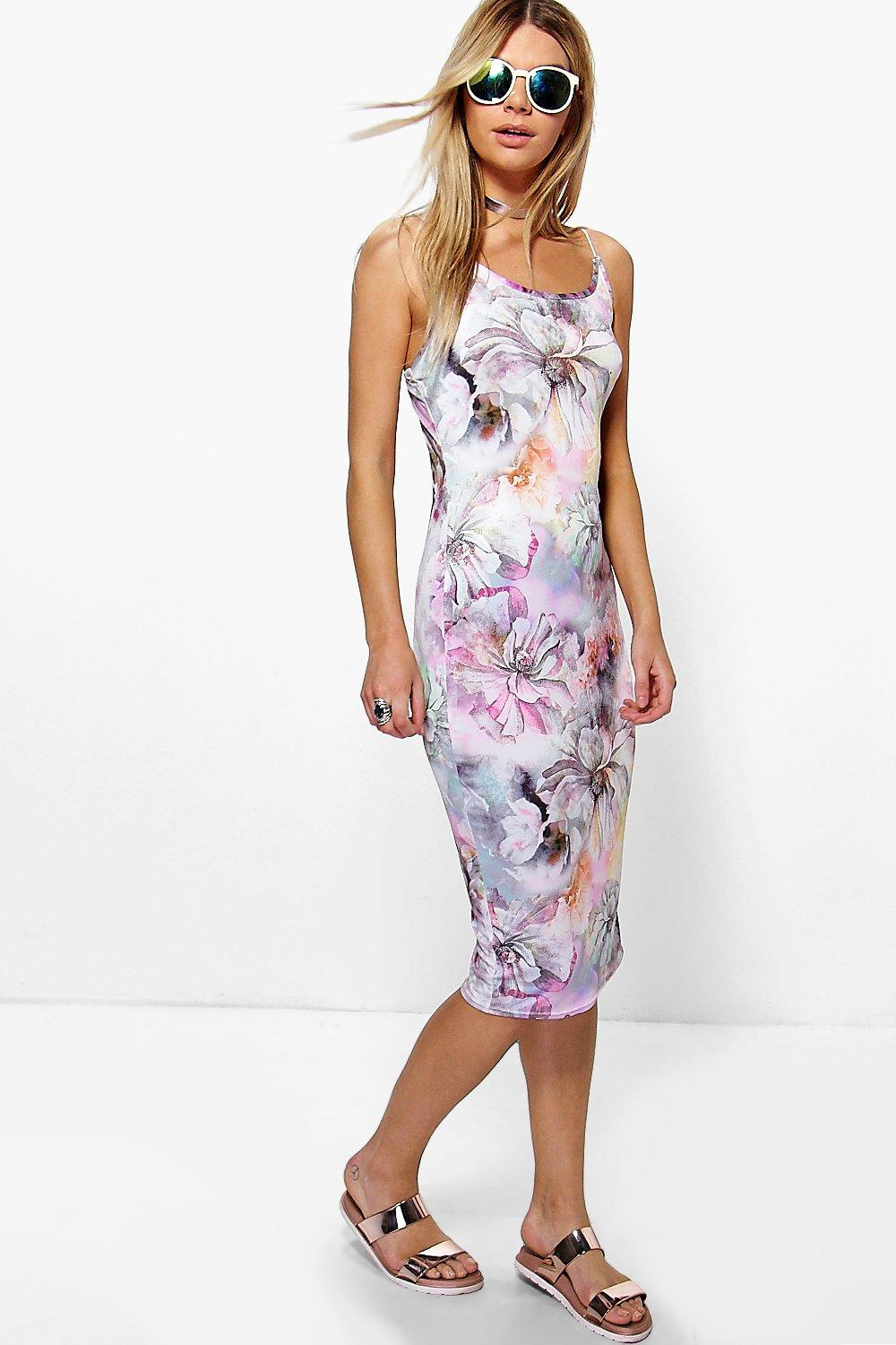 Rachael Floral Strappy Bodycon Midi Dress