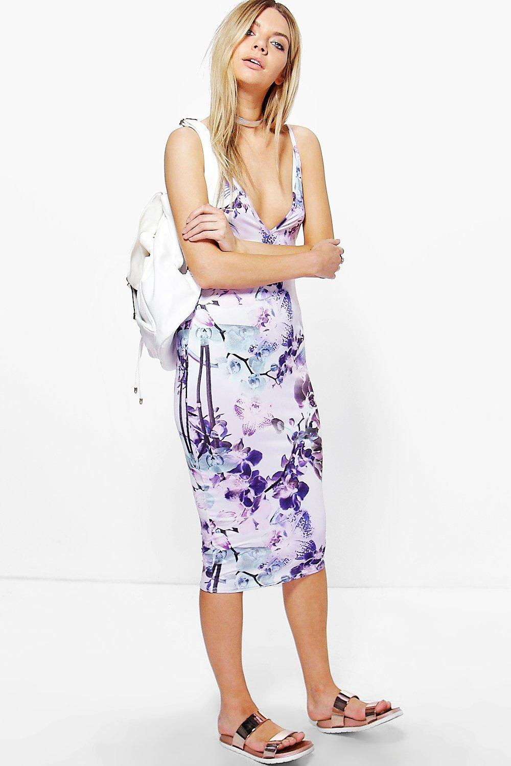 Casey Floral Strappy Bodycon Midi Dress