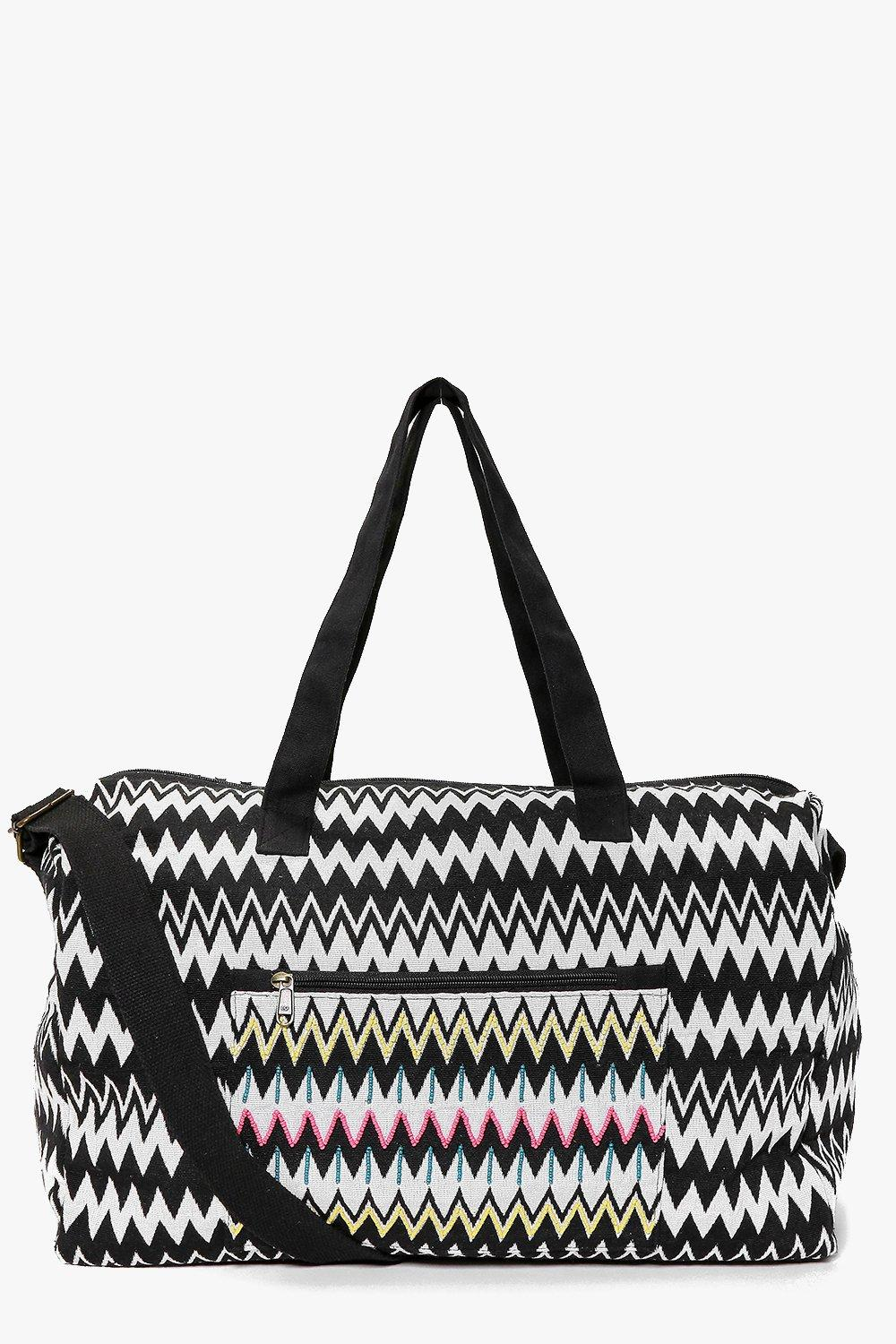 Ava Mono Zig Zag Embroidered Panel Day Bag